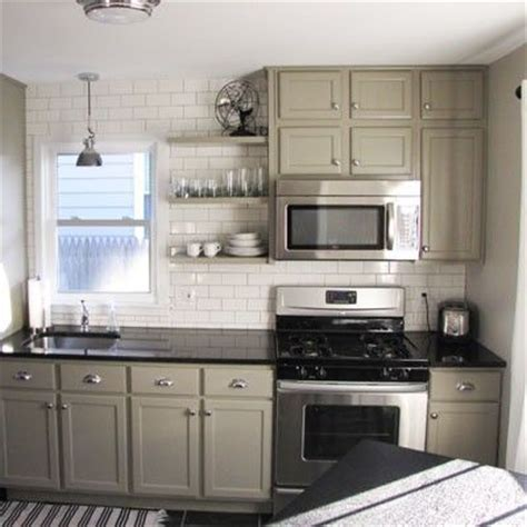 greige kitchen cabinets cozy greige kitchen kitchens pinterest open shelving