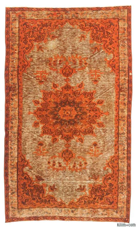 overdyed rugs k0010620 orange carved dyed rug