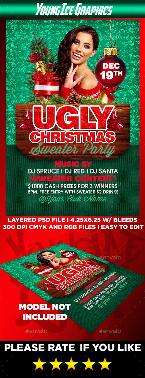 ugly christmas sweater party flyer by youngicegfx