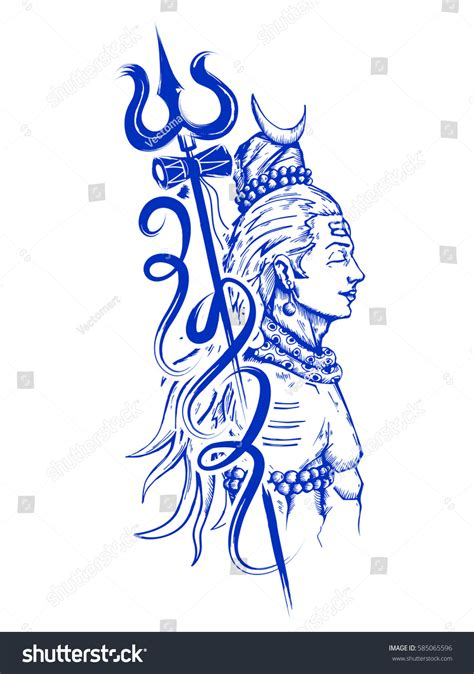 illustration lord shiva indian god hindu stock vector
