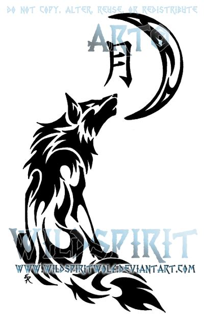 tribal wolf and moon tattoo 43 tribal moon tattoos