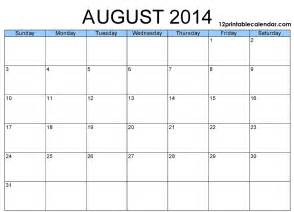Calendar Template 2014 Printable by 7 Best Images Of August 2014 Calendar Printable Free
