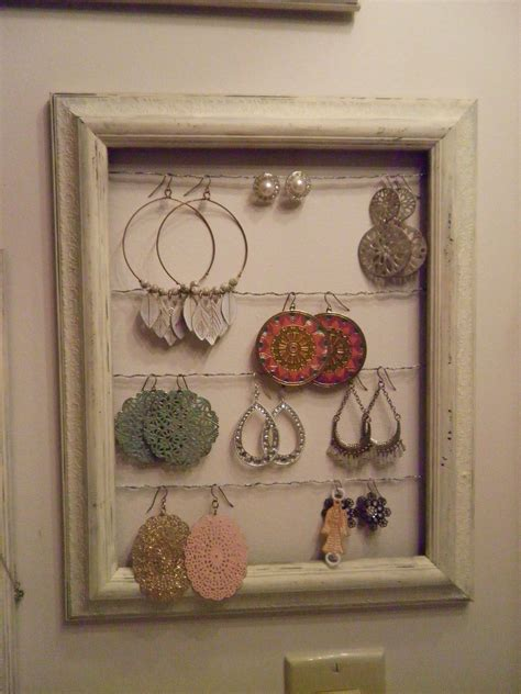 shabby chic hand painted picture frame jewelry display