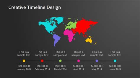 creatively designed continental worldmap horizontal powerpoint timeline