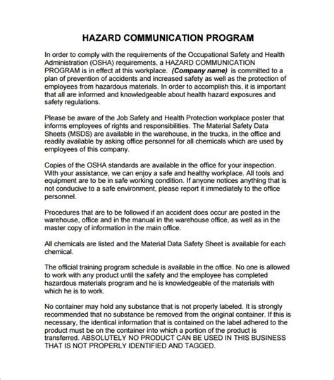 Hazard Communication Program Template Beepmunk Osha Safety Plan Template