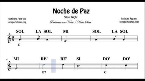 tutorial piano noche de paz noche de paz partitura con notas para flauta viol 237 n oboe