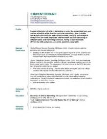 Sles Of Resumes For College Students by Student Resume Templates Student Resume Template Easyjob