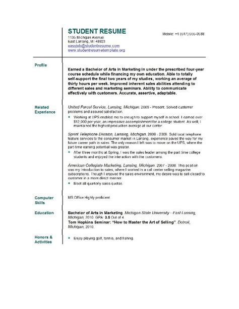 Resume For College Template by Student Resume Templates Student Resume Template Easyjob