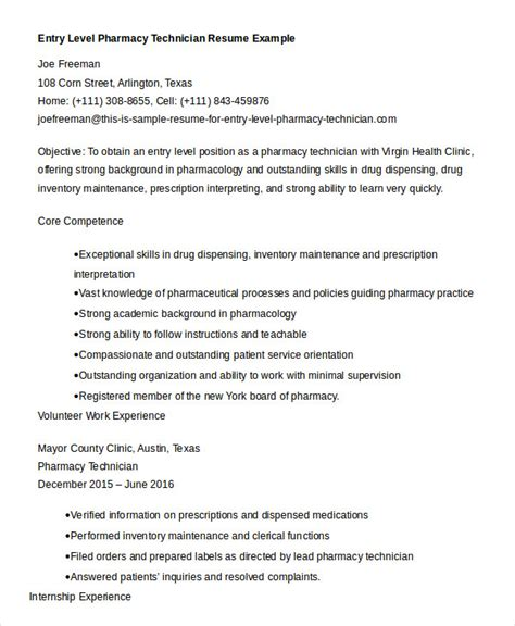 Resume Sles Pharmacy Technician Pharmacy Resume Format For Fresher