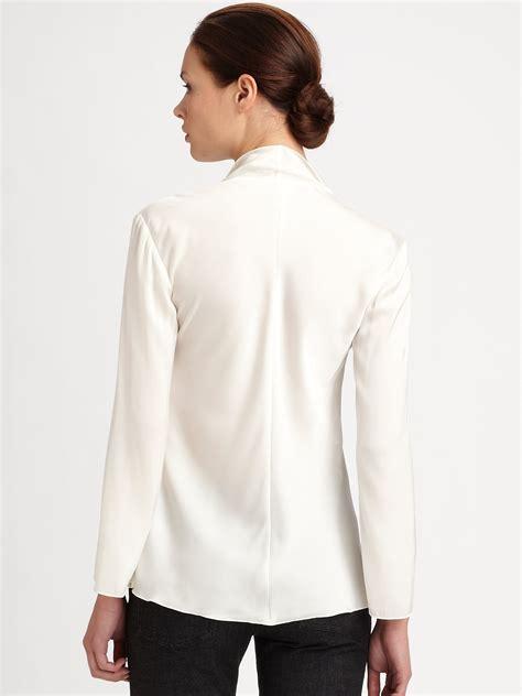 blouse armina top armani silk ruffle blouse in white lyst