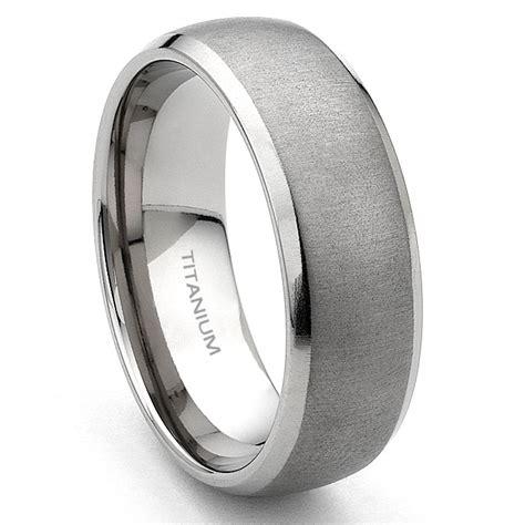 titanium mm brushed mens wedding band ring