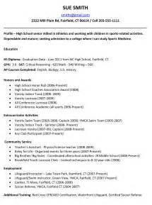 application template for students exle resume for high school students for college