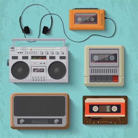 cassetta musica objetos vintage para escuchar m 250 sica descargar vectores