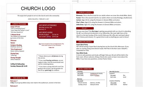 church bulletin templates template business