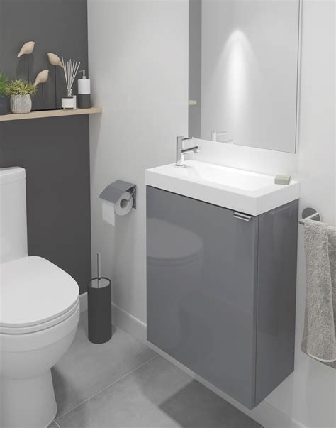 cooke lewis imandra single door grey cloakroom vanity basin unit   home ideas bathroom cloakroom toilet downstairs loo small toilet room