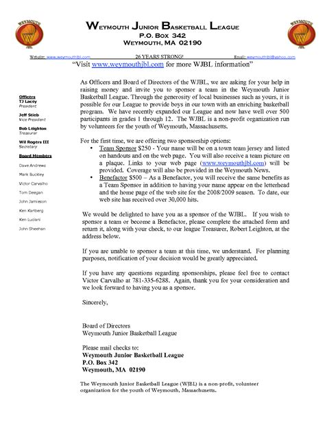 Letter For Basketball League Exle Of Solicitation Letter For Basketball League 1 Chainimage