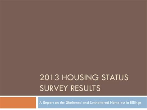 housing status 2013 housing status survey results