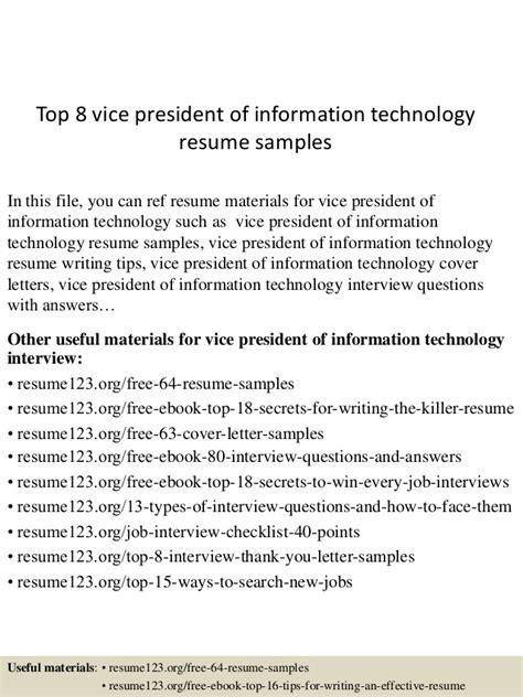 Resume Vice President Information Technology Top 8 Vice President Of Information Technology Resume Sles