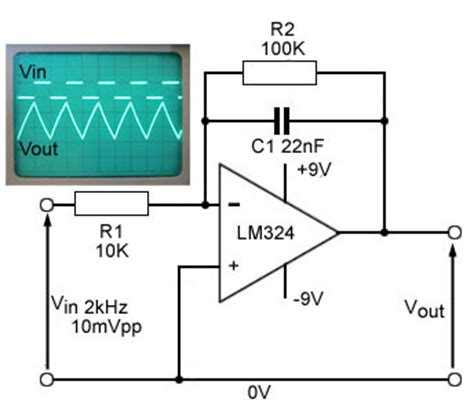 integrator circuit using lm324 integrator op formula