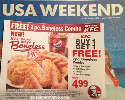 free printable restaurant coupons usa bogo kentucky fried chicken coupon in usa weekend magazine