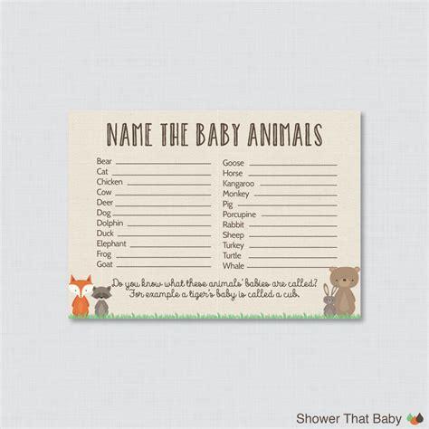 printable baby animal name game baby animals name game baby shower printable woodland baby