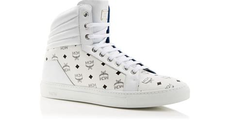white mcm sneakers mcm carryover high top sneakers in white for lyst