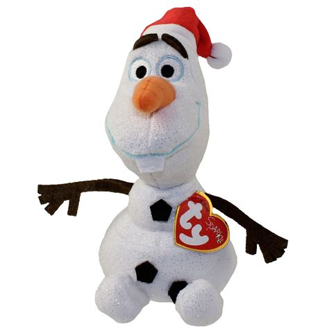 ty beanie baby olaf the snowman with santa hat disney