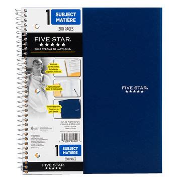 mead five star one subject notebook 11 x 8.5 inch 200