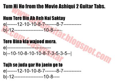 guitar tutorial urdu easy learn to play guitar tum hi ho ashiqui 2 guitar tabs