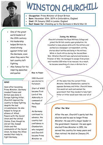 Ks2 Biography Of Winston Churchill | winston churchill factsheet by sharonhowie teaching