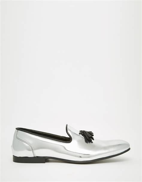 silver loafers mens asos tassel loafers in metallic silver leather in metallic