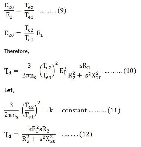 voltage equation of dc motor torque equation of an induction motor starting torque