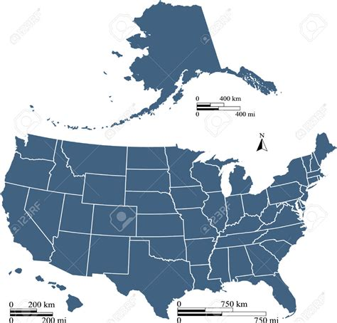 us map alaska to scale us map with alaska to scale stock vector usa map with