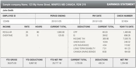 pay stub template ontario sle pay stub canada pay stub generator
