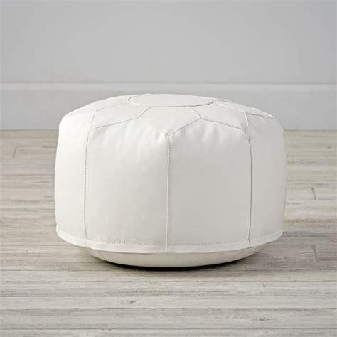 white leather pouf ottoman mini white faux leather pouf the land of nod