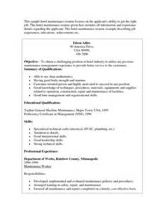 Hotel Maintenance Engineer Sle Resume by General Maintenance Resume