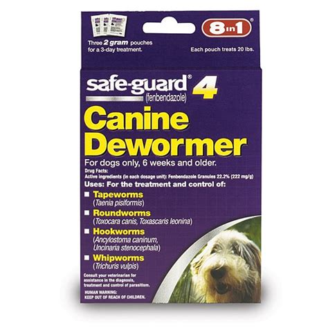 safeguard puppy dewormer 8 in 1 safe guard canine dewormer for medium dogs 2 gram 3 pouches per pack pet