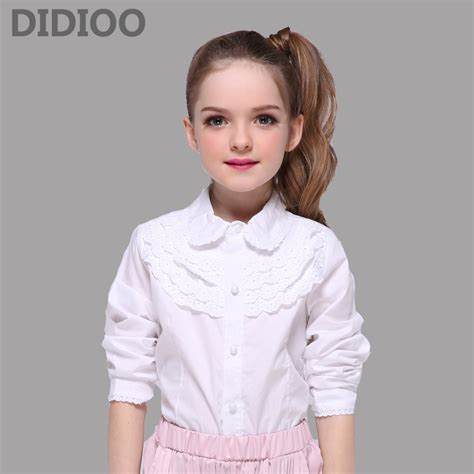 Blouse 7 8 Sleeves school white blouses for children clothing sleeve cotton lace shirts