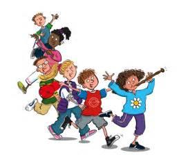 Children parade musical instruments recorder triangle cartoon