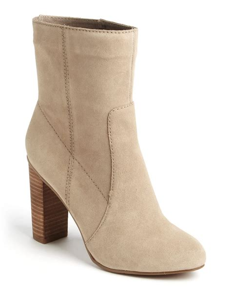 nine west otilla suede stacked boots in beige lyst