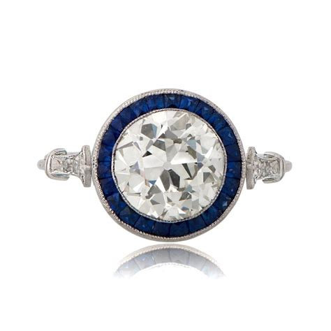 Estate Engagement Rings by Vintage Engagement Rings With Sapphire Halo 11019 T View