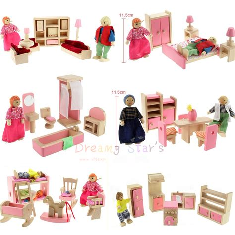 6 dollhouse dolls doll house furniture miniature wood 6 dolls american