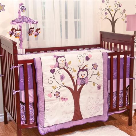 purple owl animals baby girl birds themed 5pc w bumper