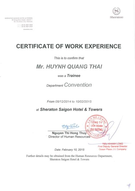 Work Experience Certificate Application Sheraton Work Experience Certificate