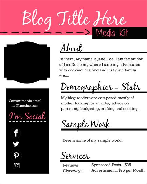 how to design a free media kit for your blog premade