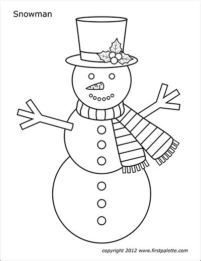snowman  printable templates coloring pages