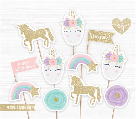 printable unicorn cupcake toppers unicorn cupcake toppers printable cupcake toppers