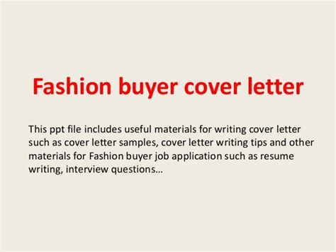 cover letter for fashion buyer fashion buyer cover letter