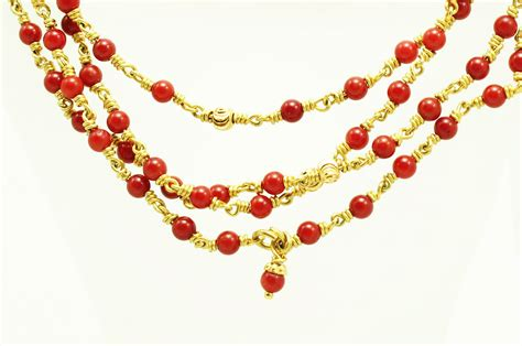 Gold Coral coral necklace in gold 2mm design i