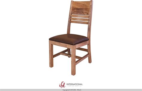 chair with solid wood back faux leather seat by